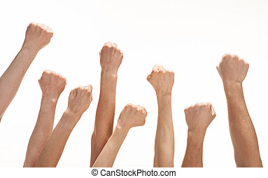 Group of hands raised up - Group of hands (fists) raised up