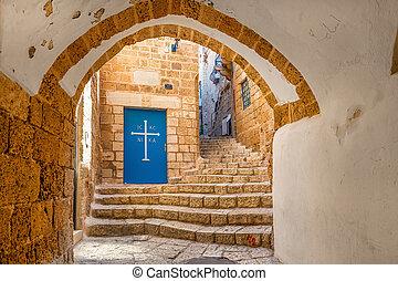 Old street of Jaffa, Israel. - Vault passage, small church...