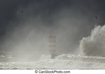 Oporto winter seascape - River Douro mouth south pier and...