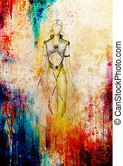 místico, bonito, Esboço, mulher,  ornamental, Vestido