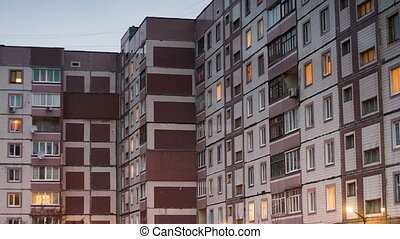 Time lapse of multistorey building with changing window...