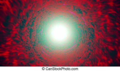 Abstract tunnel in red with light in the end
