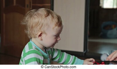 Boy watching photo album at home