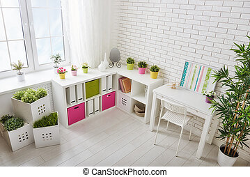 unisex room for child - Interior of colorful unisex room for...