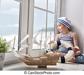 dreams of sea, adventures and travel - Adorable little child...