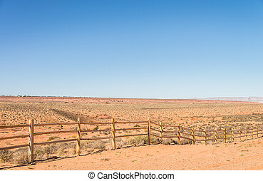 Old wooden fence in countryside of desert