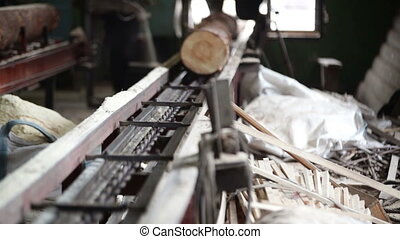 wood processing plant saw working