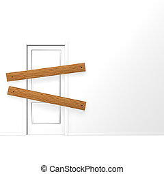 closed door - door closed with planks - 3d illustration