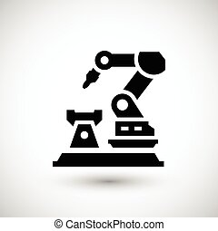 Robotic arm machine icon isolated on grey. Vector...