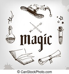 magic set, wizard, hat, book, roll, potion magican party...