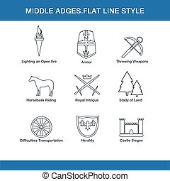 middle ages flat line style in vector format eps10