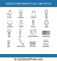 radio components flat line style in vector format eps10
