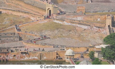 Tourists in fort Jaipur - Tourists in Amber fort, Jaipur,...