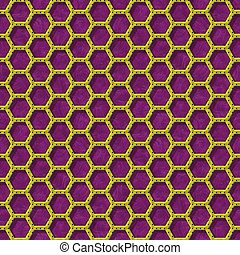gold yellow hexagon wire mesh seamless pattern texture on purple background