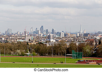The City of London Cityscape from Hampstead Heath. Buildings...