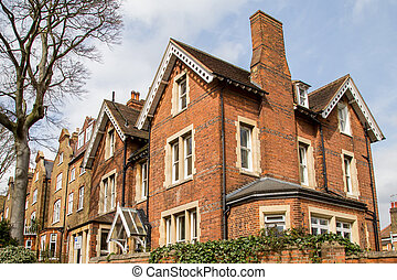 Row of Typical English Houses in Hampstead London - Row of...