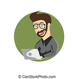 cartoon illustration of young hipster man with laptop