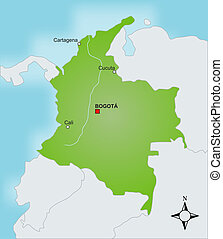 Map Colombia - A stylized map of Colombia showing different...