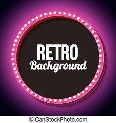 Retro frame circle with neon lights - Pink retro frame with...