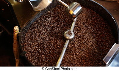 Coffee Roaster Cooling Down Freshly Roasted Coffee Beans -...