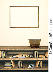 Blank frame and wooden bookshelf - Blank picture frame...