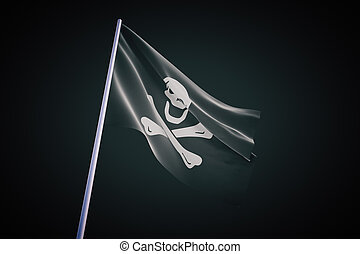 pirate flag on black background - Waving pirate flag...