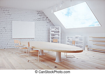 Conference room design with blank board on wall and huge...