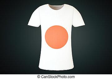 T-shirt, japoneses, bandeira, frente,