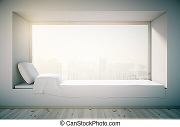 White windowsill bed - Loft bedroom design with white...