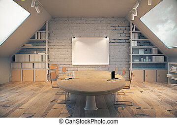 Wooden conference room