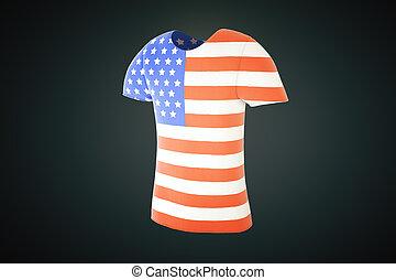 tshirt usa flag side - T-shirt with an American flag print...