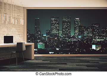 Loft studio design at night - Loft studio design with...