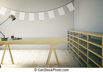 Wooden photo studio with blank pictures
