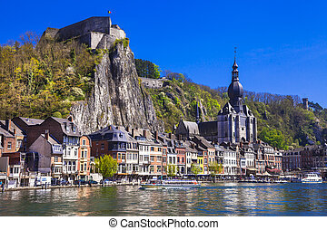 Dinant at the river Meuse in Belgium - View Of Dinant,With...