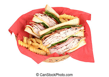 top view chicken club sandwich