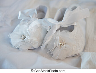 white baby christening shoes - Pair of Small white baby...