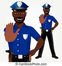 African american policeman showing stop gesture isolated on...