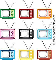vector illustration of old tv sets