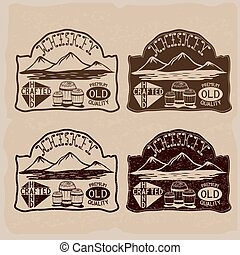 whiskey vintage labels set
