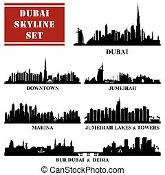 Set of Dubai districts, vector illustration
