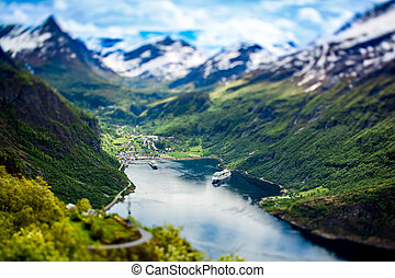 Geiranger fjord, Norway tilt shift lens - Geiranger fjord,...