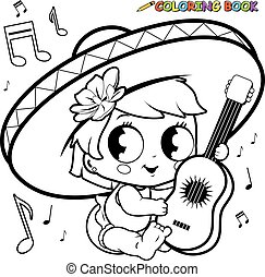 Mariachi baby girl with guitar - Vector black and white...