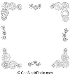happy easter frame - Hand drawn decorated doodle mandala....