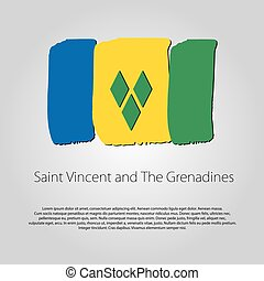 Saint Vincent and The Grenadines Flag with colored hand...
