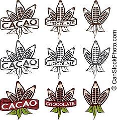 cacao beans with leaves labels set