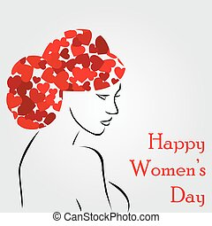 Woman with a lovely hairstyle- graphic for womens day