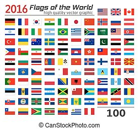 Set of flags of different countries. - Collection of World...