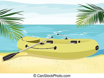 Rubber boat on the sea shore - illustration of rubber boat...