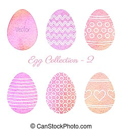 Set of watercolor Easter elements