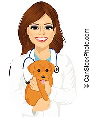 attractive young female veterinarian hugging cute little dog